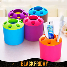 1Pcs Large porous toothpaste tooth brush holder Multi-functional desktop pen container for kids send by random color free ship(China)