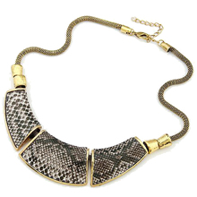 Xl053 wholesale Jewelry Fashion Geometry montage Snake Skin Vintage Necklace(China)