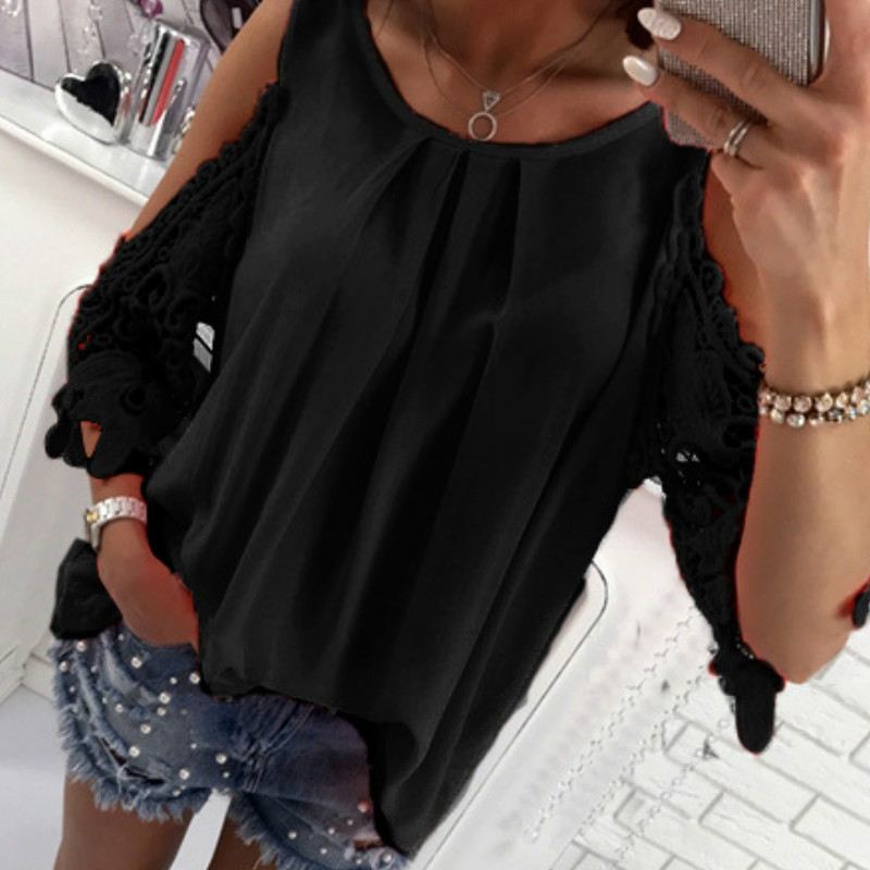 Women Summer Chiffon Blouses 18 New Casual Sexy Sun-top Blusas Half Sleeve Lace Patchwork Shirts Off Shoulder Tops Solid GV381 8