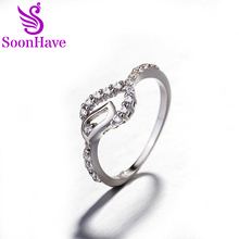 SoonHave Hearts Rings 925 Sterling Silver Zircon Romantic Classic Cubic Zirconia 925 Sterling Silver Rings Women Wedding Jewelry(China)