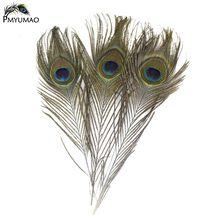 2017 100PCS Natural Peacock Feather 25-30cm Dyed peacock feathers Clothing Decoration Plume Fashion Crafts Beautiful Decorative