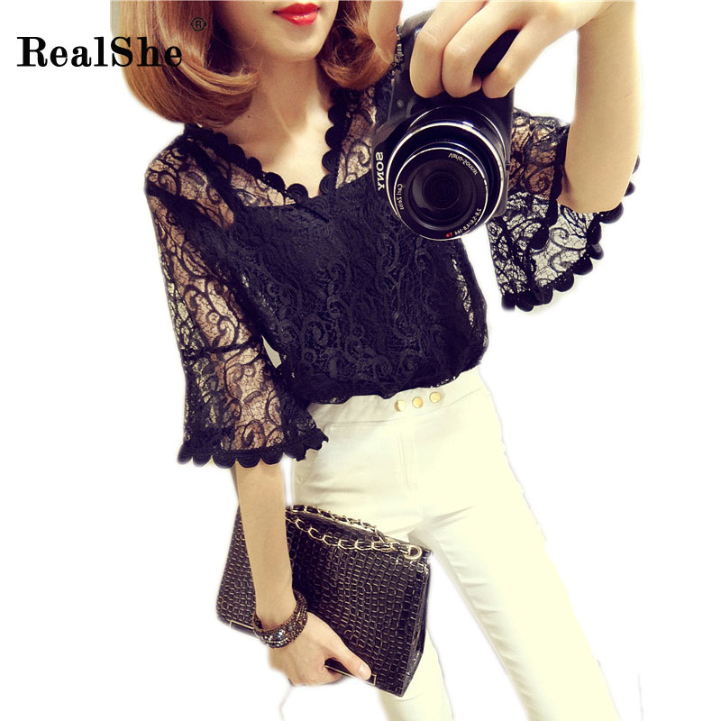 RealShe New Summer Casual Solid Tshirt Woman V Neck Half Sleeve Mesh Lace Patchwork T Shirt Women Elegant White Tees Shirts