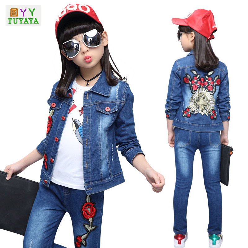 Girls Outfits for Kids Jeans Clothes Sets Denim Jackets &amp; Pants Set for Girls Flower Print Girls Sport Suits Coats Trousers Sets<br>