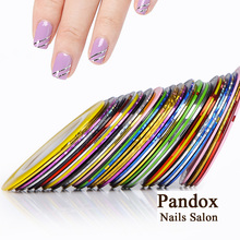 Pandox Striping Tape Line Nail Art Tips Decoration Sticker Nail 10pcs Mixed Colors Nail Rolls Striping Tape Line DIY For Nail(China)