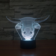 3D Cow Cattle Bovini LED Lamp Atmosphere lamp 7 Color Changing Visual illusion LED Decor Lamp