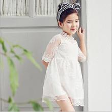 2017 Summer Girl Lace Dress White Black Kids Dresses Cute Korean Kids Clothes 3-8Y Childrens Dress Wholesale