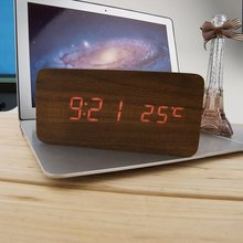 Practical Home Wooden Red Light Clock Digital LED Alarm Calendar Thermometer Sound Control Date Bedside Simple Classic