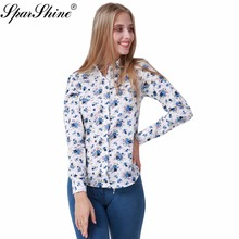 SPARSHINE 2017 Women Blouse Office Long Sleeve Shirts Printed Floral Color Type Tops Lady Impression Blouses Chemise Female(China)