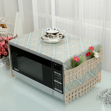 Anti-oil Plaid Dustproof Oven Cover Microwave Cover Pastoral Cotton Cloth Decal For Kitchen Home Decor