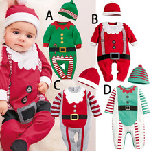 2016 Baby rompers One-piece Costumes infant long sleeve spring autumn baby wear romper + hat clothing set Christmas Gifts