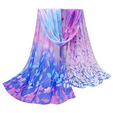 Women Fashion Design Blue Coffee Green Yellow Purple girls scarf Printed Silk Soft Silk Chiffon Shawl Wrap Wraps Scarf Scarves