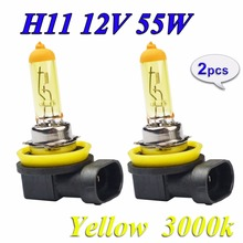 flytop 2 Pieces 12V 55W H11 Yellow Halogen Bulb PGJ19-2 3000K Auto Lamp Quartz Glass Car Fog Light FREE SHIPPING(China)