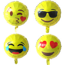 Hot 4pcs/lot 18''QQ expression balloon Emoji foil ballon birthday wedding decor inflatable balls Emoticons helium smile balloons