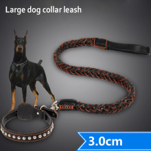 Large big genuine leather dog chain Leashes german shepherd golden retriever dog Leash lead labrador dog collar leash for pet(China)