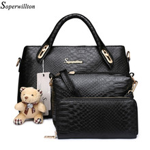 Soperwillton Famous China Brand Women's Bag Top-Handle Serpentine Embossed Print Women Messenger Bags Handbag and Wallet #1104