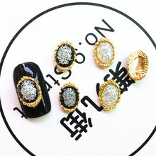 new 20pcs/lot alloy glitter resin rhinestone nail art charms gold Japanese nail jewelry decoration bride nail metal parts