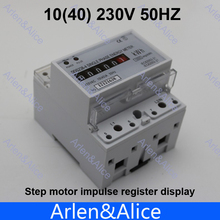 10(40)A 230V 50HZ Single phase Din rail KWH Watt hour din-rail energy meter step motor impulse register dispaly(China)