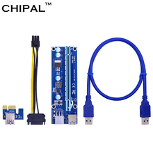 10PCS Blue VER006C 60CM PCI-E Riser Card PCIE 1x to 16x Extender + USB 3.0 Cable / 6Pin Molex Power Supply for BTC LTC ETH Miner(China)