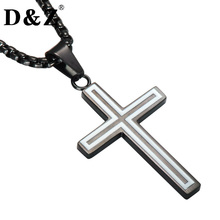 D&Z Religious Black Color Cross Necklace Titanium Stainless Steel Crucifix Pendant Necklaces for Christian Jewelry(China)