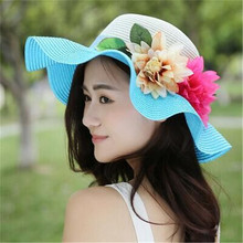 2016 women's fashion foldable wide brim hat big straw floppy beach hat woman flowers summer women