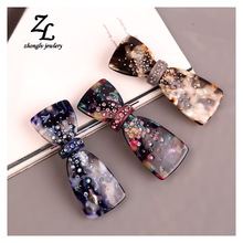 Multicolor Cellulose Acetate Bow Hair Clips Barrettes crystal big Fashion Hair Jewelry Hair Accessories For Female Gifts Tiaras