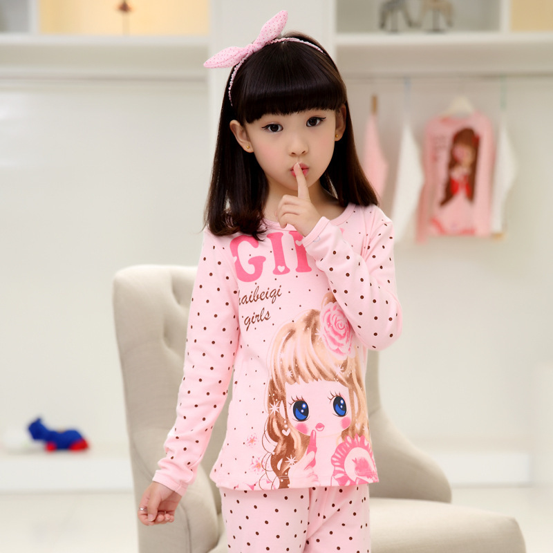 Children's Pajamas Suit Summer Girls Cotton Long Sleeved Clothes Summer Girl Baby Cartoon Thin Air Conditioning Pajamas(China (Mainland))