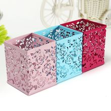 Desk Storage Container Hollow Pen Holder Organizer Stationery Office Supply Pencil Case three colors