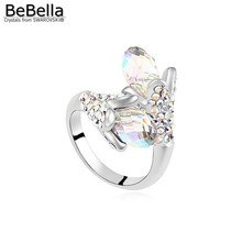 BeBella flower crystal finger ring for women made with Austrian crystals from Swarovski in 4 colors bridesmaids wedding jewelry(China)