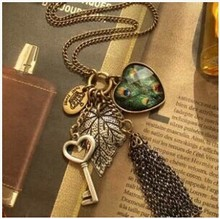 TOMTOSH X289 Peacock feather big peach heart key vintage tassel necklace necklaces pendants pendants for jewelry making