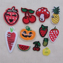 high quality fashion food patterned hot melt adhesive applique embroidery patches stripes DIY clothing accessory C477-C5202