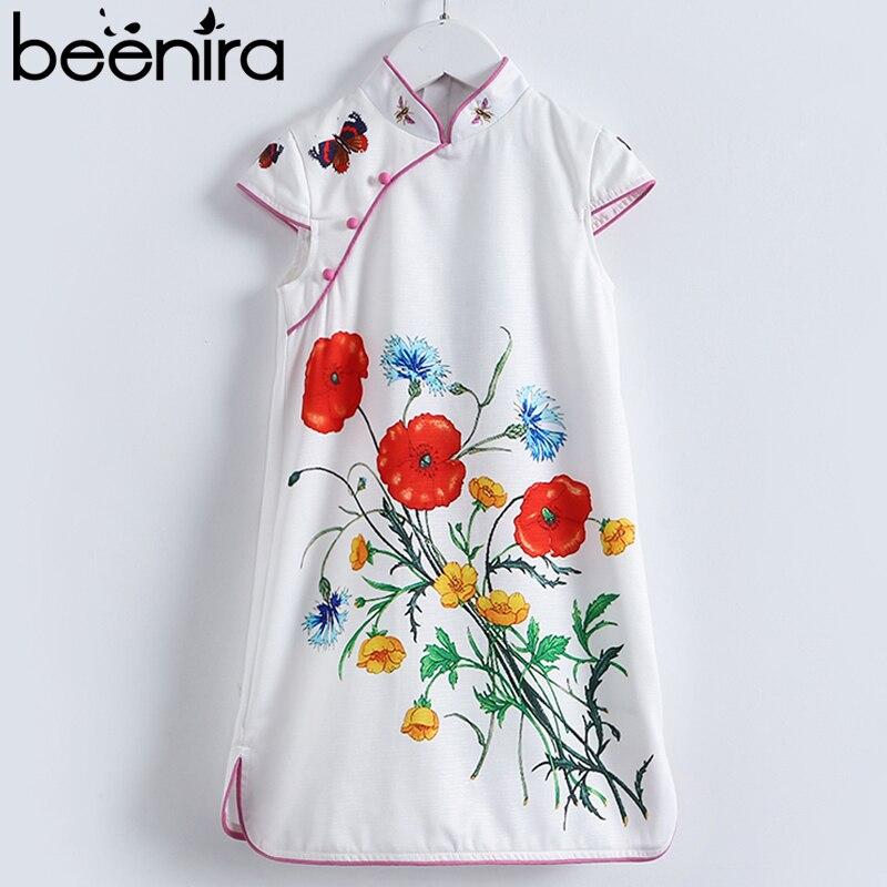 Beenira Girls Cheongsam Dress 2018 New European And American Style Children Sleeveless Flore Princess Dress 4-14Y Kids Clothing<br>