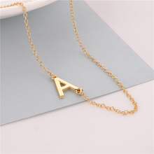 50pcs/lot Unique Personalized Sideways Letter Necklace,Tiny Initial Necklace Couples Necklace Gift For Her-Gift Idea(China)