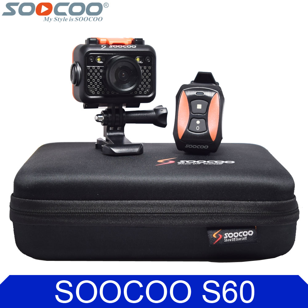 Original SOOCOO S60 Wifi Action Video Camera 1080P FHD Diving 60M Bare Waterproof Mini DV Sports Camcorder+Remote Control Watch(China (Mainland))