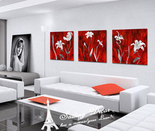 For Living Room Canvas Paints Wall Art Pictures Deep Color Red Back With White Flowers Surprise Dreamful Artist