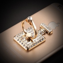 luxury perfume bottle Bling Diamond ring Holder Sticker Universal Mobile phone & tablets Metal Finger Grip phone Stand hot sale