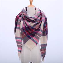 2017 new brand women scarf fashion plaid soft cashmere scarves shawls lady wraps designer Triangle warm Wholesale scarves(China)