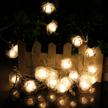 4-5M 20-28Leds Rose LED String Lighting nightlight Flower EU Plug or Battery box Party Wedding Christmas Fairy Decor 2 option R