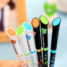 Wholesale hot selling new arrival good quality 6color  Flower series gel pen0.5mm black ink   papelaria .school office pens stat