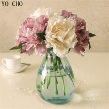 Cheap Tiffany Blue Artificial Fake Peony Silk Flowers Bridal Bouquet Flower Arrangement Home Wedding Party Table Garden Decor