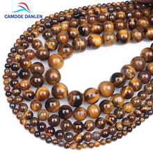 CAMDOE DANLEN AAA Natural Stone Tiger Eye Round Beads 6 8 10 12 14 16MM Diy Charms Earrings Beads For Jewelry Making Accessories(China)