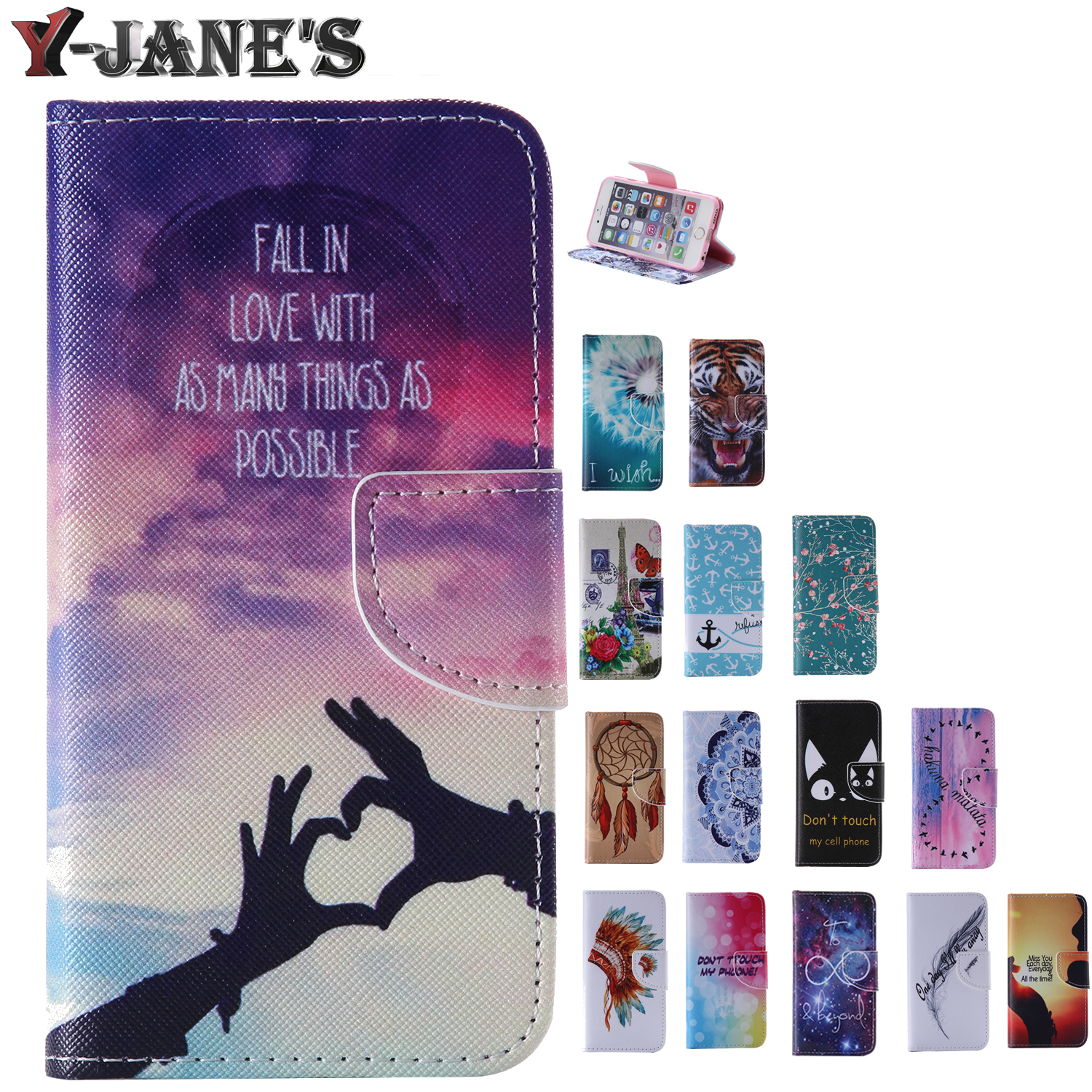 Painted Style Leather Protector TPU Cover Case Wallet Card Slots Phone Case Samsung Galaxy S4 Mini i9190 Cases