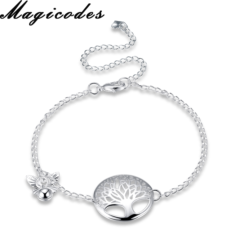 Yueyin 925 Sterling Silver 2017 Fashion Women Anklets Tree Plant Trendy Summer Beach Accessories Romantic Anklets Jewelry A097(China)