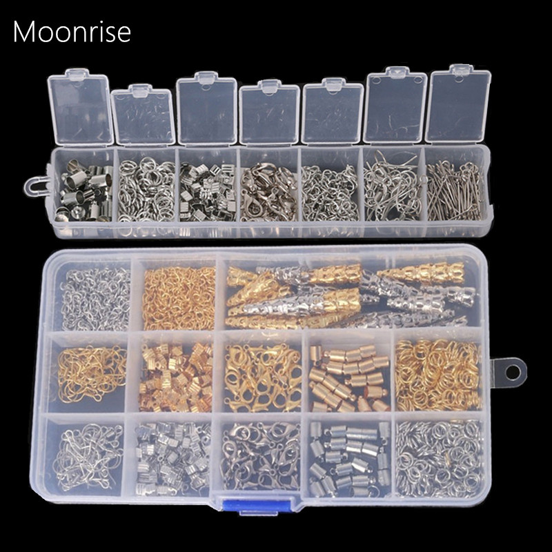 1Box Jewelry Findings Earring Hooks//Pin//Ring//Clasp//Chain//Beads Cap Jewelry DIY
