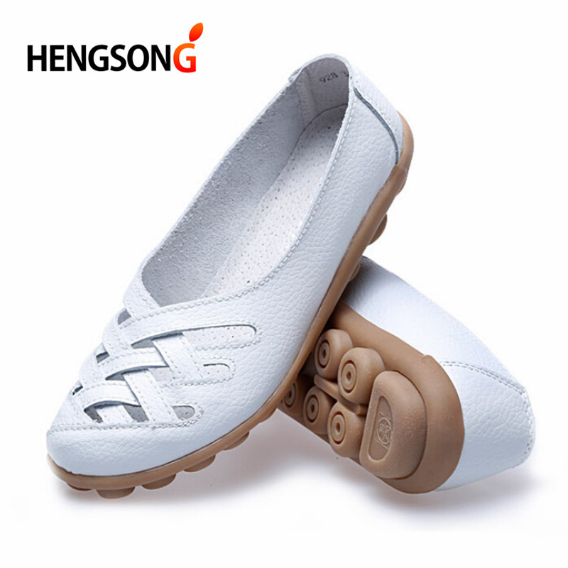 2017 Flat Shoes Women Casual Soft PU Leather Hollow Out Nurses Working Flats Shoes Summer Shoe sapato feminino 23-26cm OR856210<br><br>Aliexpress