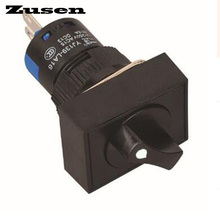 Zusen 16mm rectangle plastic selector switch 2 position LOCK 1NO1NC