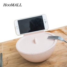 Hoomall Eco-friendly Wheat Straw Instant Noddles Bowl With Lid&Smart Phone Holder Stand Soup Rice Container Large Tableware(China)