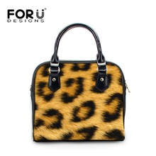 FORUDESIGNS Leopard Stripe Printing Tote Handbag for Women Soft PU Leather Ladies Shoulder Bags Neon Female Crossbody Bags
