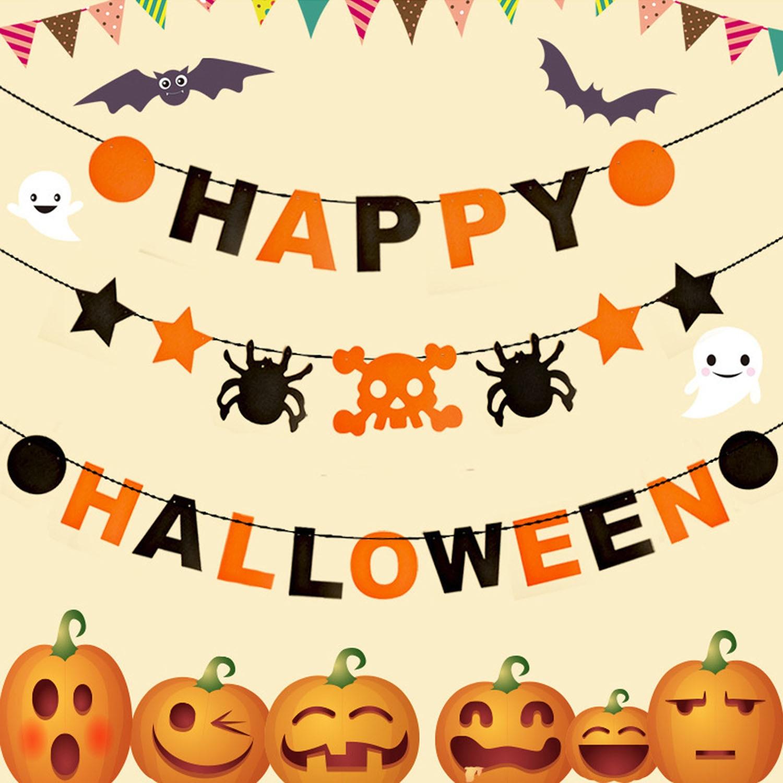 Halloween decoration clipart - Taos 3pcs 3m Halloween Spider Flag Banner Kit Garland Props Home Garden Halloween Party Decoration Accessory