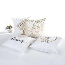 Bronzing Christmas Cushion Cover Gold Printed Pillow Cover Soft Decorative Pillow Case Sofa Seat Car Pillowcase New Year Decor(China)