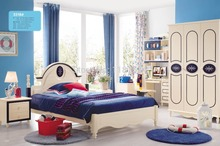 3318 Children bedroom furniture sets children bed three doors wardrobe desk chair nightstand(China)